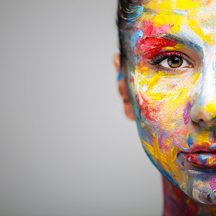 Women with a painted face, colour